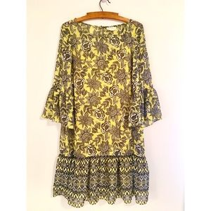 Prelude size 6 yellow floral shift dress
